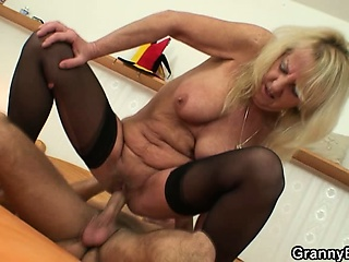Old blonde is picked about for hard fucking