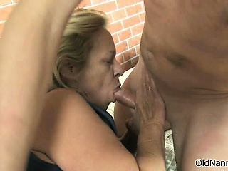 Nasty granny gets horny sucking part2