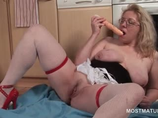 Orgasm enthusiasm mature blonde sucking a vibrator heavens floor