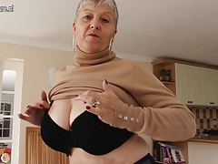 Crazy ginormous breasted British grandma playing with herself