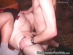 Mature yam-sized housewife is fucked by 2 men