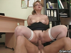 Office cockslut enjoys  his meat