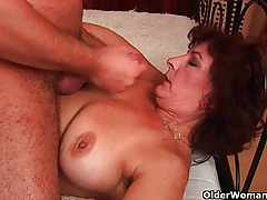Grandma with big tits and hairy pussy gets facial cumshot