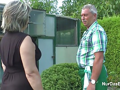 German Grandpa and Grandma ravage Hard in Garden