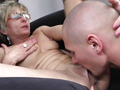 Steamy skinny grandma gets fucked by her toy guy