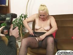 Blond mom in law is torn up after horny photosession