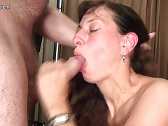mother playing and blowing youthfull cock