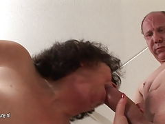 Old granny fucked by two grandpas