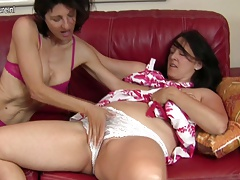 Mature lesbian mom porks another hairy mom