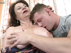 Amateur old mother fucked by young boy