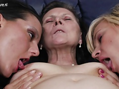 Young daughters poke a lezzy granny