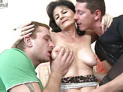Super hot grandmother fucking  young guys at once