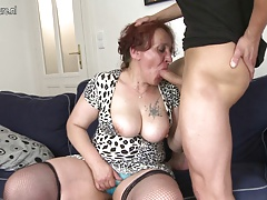 Naughty granny fucking her youthful boy