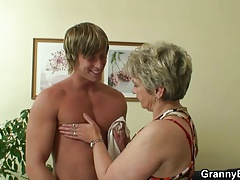 Lonely grandmother deep throats and  his horny cock