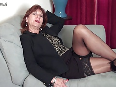American mature Mother strips first and plays with her