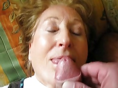 Granny takes a facial