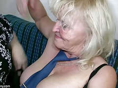 OldNanny Mature with large boobs masturbate with chubby Granny