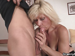 Ash-blonde old chicks pleases an young guy