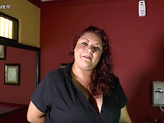 Mature Latin American BBW playing with her plaything