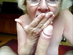 Grannie making a  deep throat