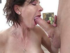 Skinny grannie gargle and smash young boy's lollipop