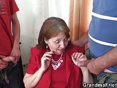 elderly granny takes it from both completes