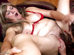 Hot and kinky older and young all girl foursome
