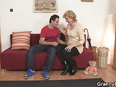 Cute mature dame and boy