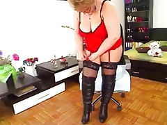 MILF in red lingerie
