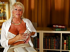 Sizzling American grandma shows great rack and gets herself wet