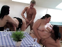 Epic group fuck with various sized mature moms