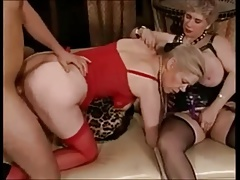 Three horny grandmas in stockings have theirselves a party