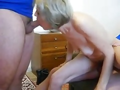 Horny Granny Pleasing 2 Men