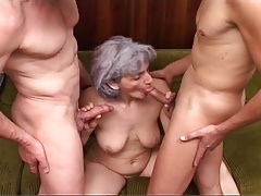 Grey-haired Grandma Gets Blasted By Pair Of Cocks