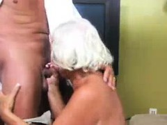 Mischievous Granny Grabs The Big Rod Of Guard