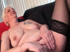 Mature in stockings masturbating kinky cunt