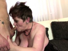Chubby  satisfying a young cock