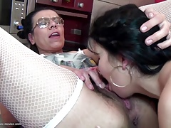 Group intercourse party with old and young lesbians