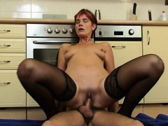 Killer Mature In Laced Stockings Kitchen Anal Fuck