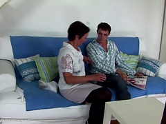 Seduced son-in-law cums  not his mom's vagina
