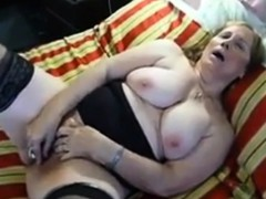 Masturbation of huge-titted amateur grandma Lucia