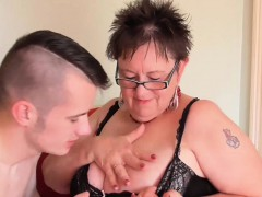 Young gardener Sam Bourne with gigantic dick working on granny