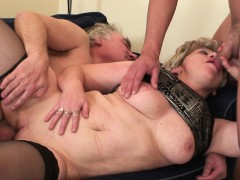 Insatiable senior female  two cocks at once