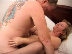 Horny blonde granny with a lovely  gets her needy cunt banged deep