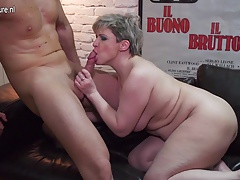 Unshaved mother fucking and sucking her junior