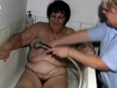 Fat grannie gets treated by the nurse