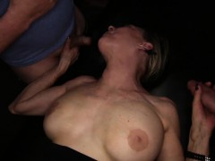 Nasty old Granny Gilf gets group-fucked with creampies