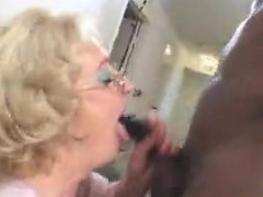 Blonde granny fucking big black cock interracial