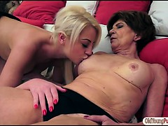 Teen Anastasia Blonde degustating an elderly pussy and gets munched