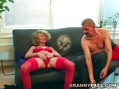 Super-naughty granny fucks her guests